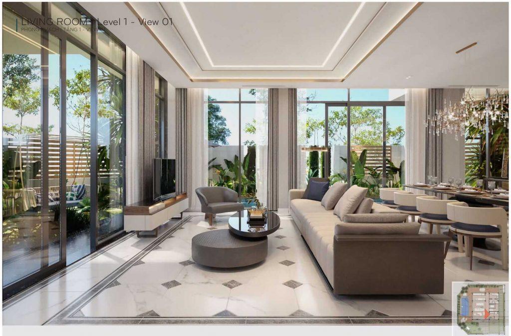"""Không gian phong cách """"chuẩn san hô"""" tại một căn biệt thự Meyhomes Capital"""